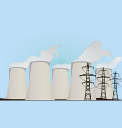 nuclear power plants and electric towers vector image