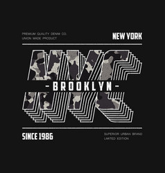 Nyc modern typography with camouflage texture vector
