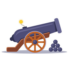 Old military cannon with a lit wick vector