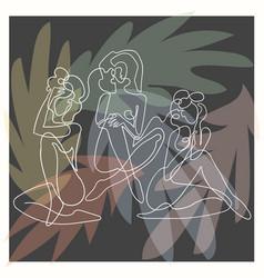 outline women on dark floral vector image