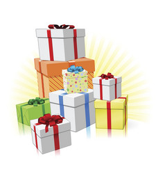 Pile of presents concept vector