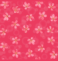 pink blossoming cherry with bokeh effect seamless vector image