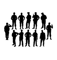 police soldier silhouettes vector image