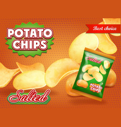 Potato chips classic package design vector