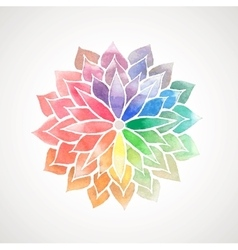 Rainbow watercolor painted flower vector