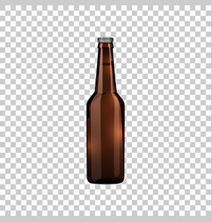 realistic brown glass beer bottle isolated object vector image