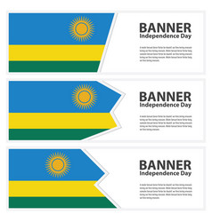 Rwanda flag banners collection independence day vector