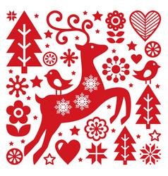 Scandinavian christmas pattern nordic folk vector