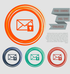 Secret mail icon on red blue green orange vector