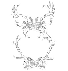 Set contour deer antlers with roses and feather vector