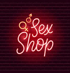 Sex shop neon sign vector