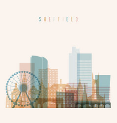 sheffield skyline detailed silhouette vector image