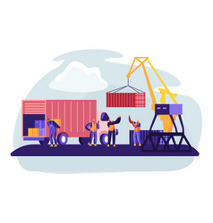 Shipping port with harbor crane loading containers vector