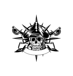 skull and wind rose vector image