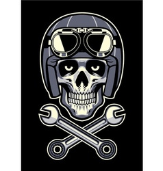 Skull wearing vintage motorcycle helmet vector