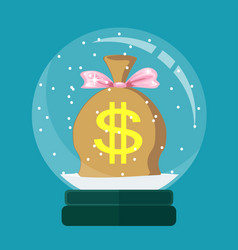 snow globe with a money bag inside vector image