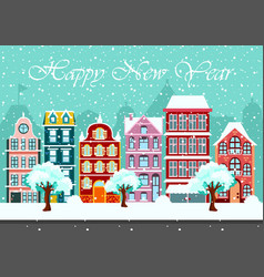 snowy night in cozy town city panorama cityscape vector image