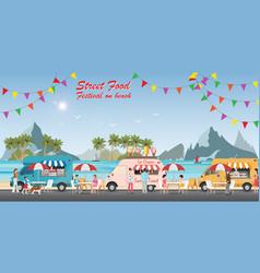 street food truck festival on beach vector image