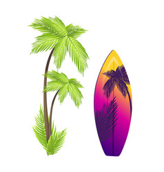 surfing board and palm tree vector image