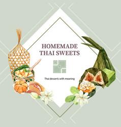 Thai sweet wreath design with pyramid dough vector