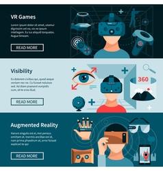 Virtual Reality Horizontal Webpage Banners Set vector image
