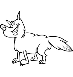 wolf animal cartoon coloring book vector image