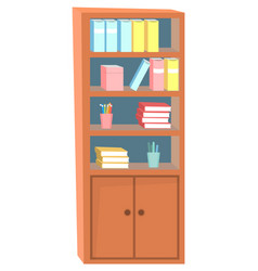 Wooden bookshelf with books pens and pencils vector