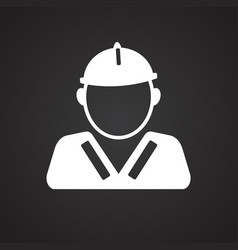 worker in unionall on black background vector image