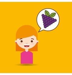 cute girl cartoon graps health graphic vector image
