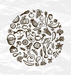 Healthy food background sketch for your design vector image vector image