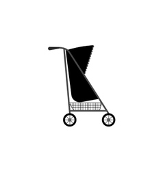 Baby carriage silhouette icon vector image