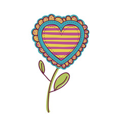 colorful heart flower shape with lines pattern vector image