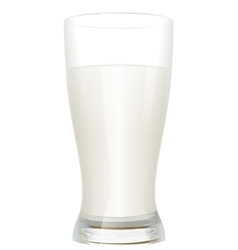 Full glass of milk isolated on white background vector image