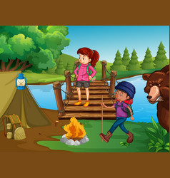 people hiking and camping in the wilderness vector image