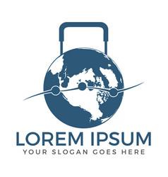 world luggage shaped travel logo vector image