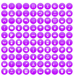 100 water supply icons set purple vector