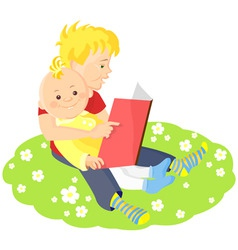 boys is reading a book vector image vector image