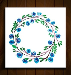 frame with flowers blue vector image vector image