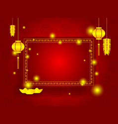 happy chinese new year with copy space on red vector image vector image
