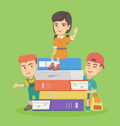 little caucasian children with the stack of books vector image