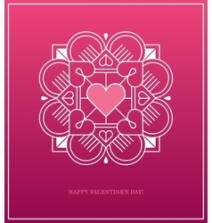 Pink design template with heart in white linear vector image