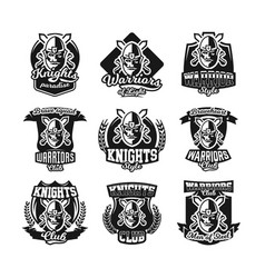 set of monochrome logos emblems knight in helmet vector image