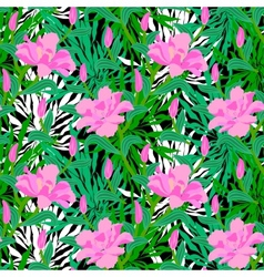 Tropical pattern with jungle flowers vector image