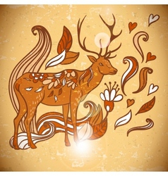 Animal Background pattern with swirls and deer vector image