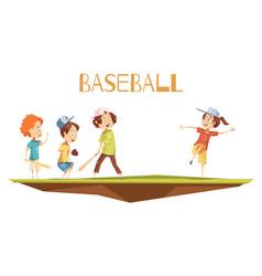 cartoon kids playing baseball vector image vector image