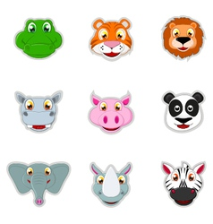 cute animal head icon vector image