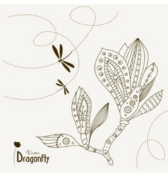 dragonfly and magnolia vector image