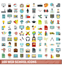 100 web school icons set flat style vector
