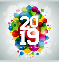 2019 happy new year with typography vector