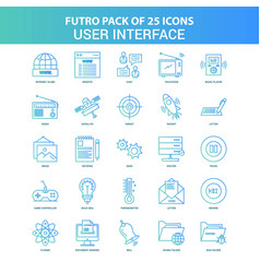25 green and blue futuro user interface icon pack vector